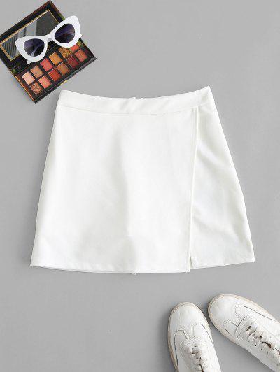 Falda Corte Asimetrico Shorts - Blanco M