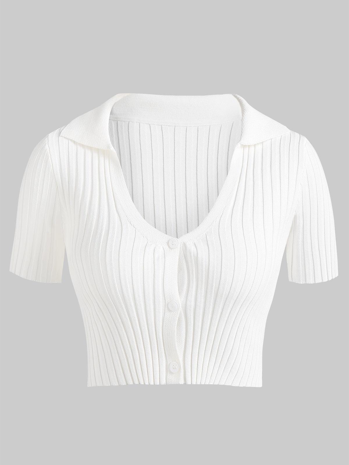 ZAFUL Ribbed Slim Crop Short Sleeve Cardigan