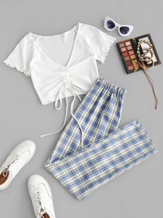 fashion Cinched Ruched Knit Top and Plaid Pants Set - LIGHT BLUE L
