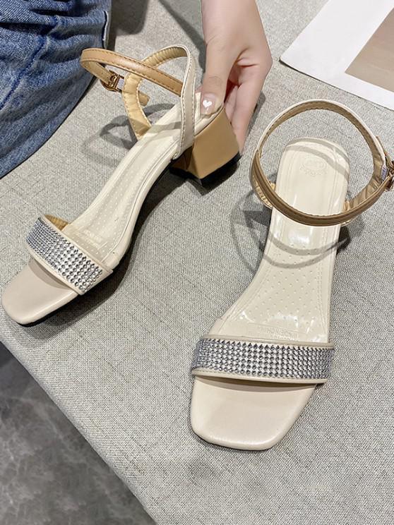 women Square Toe Rhinestone Embellished Barely-There Sandals - LIGHT KHAKI EU 37
