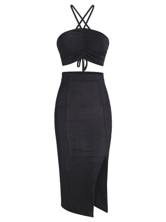 womens Ruched Back Slit Slinky Two Piece Dress - BLACK S