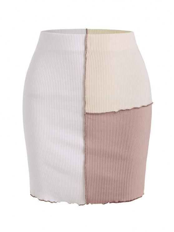Topstitching Colorblock Rib-knit Mini Skirt - أبيض S
