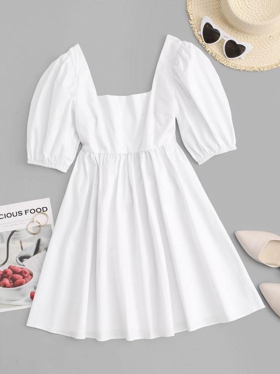 online Puff Sleeve Open Back Voluminous Milkmaid Dress - WHITE L