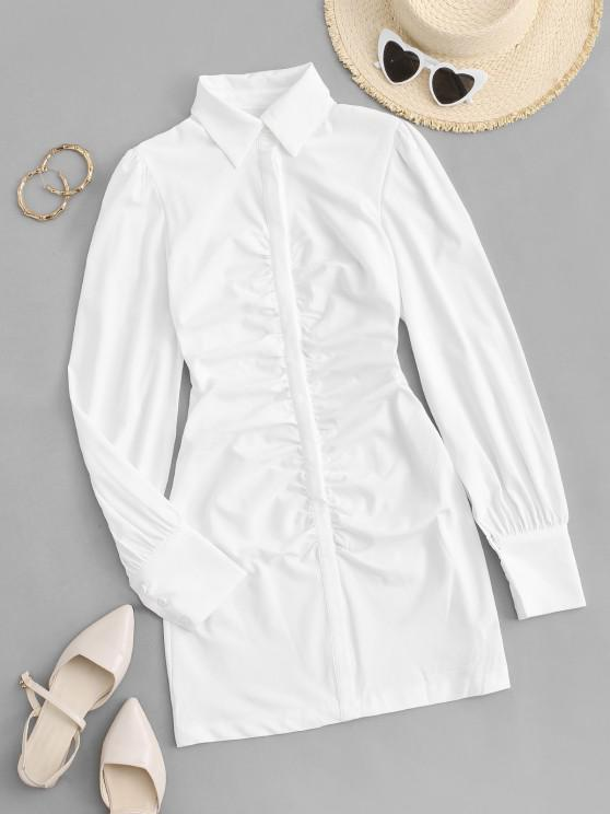 chic Puff Sleeve Ruched Front Mini Shirt Dress - WHITE L