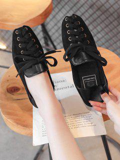 Lace Up Patchwork Leisure Shoes - Black Eu 38