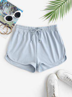 Drawstring Dolphin Sweat Shorts - Light Blue L