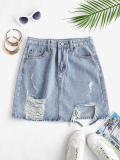 Shredded Distressed Frayed Denim Mini Skirt - Light Blue M