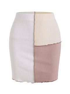 Mini Jupe En Blocs De Couleurs Cousue Côtelée En Haut - Blanc S