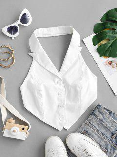 Lapel Tied Backless Napkin Top - White M