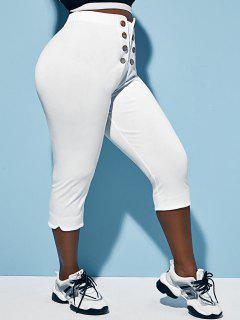 Pantalon Capri Boutonné De Grande Taille - Blanc L