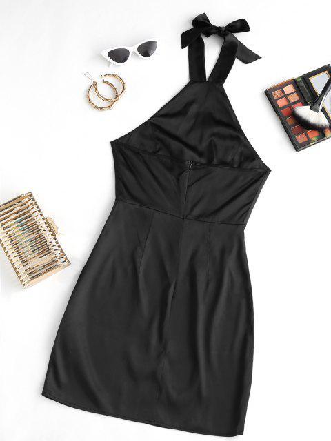 Neckholder Gebunden Satin Kleid - Schwarz M Mobile