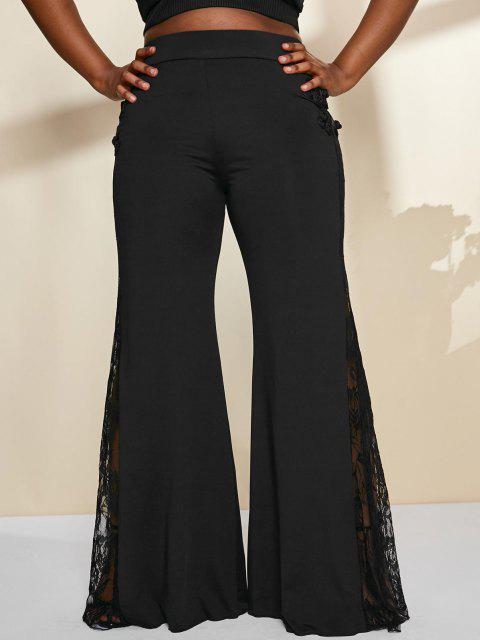 Pantalon à Patte Cloche à Détail en Dentelle Transparent Grande Taille - Noir 3X Mobile