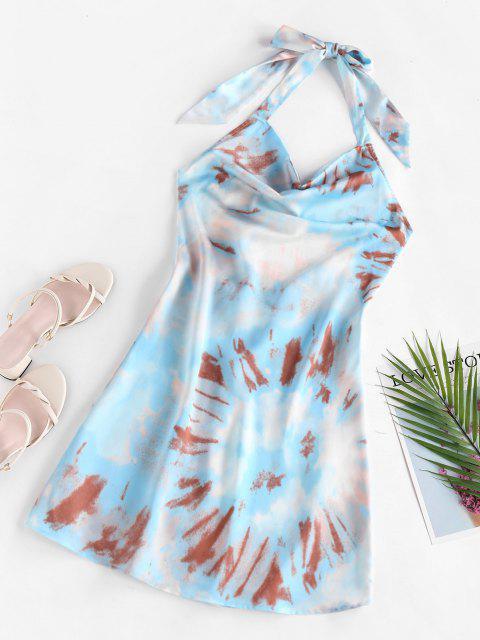 ZAFUL Krawattenfärbendes Drapiertes Halfter Rückenfreies Kleid - Hellblau L Mobile