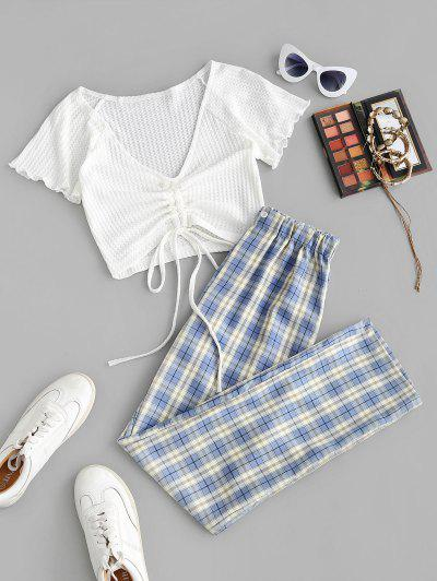 Cinched Ruched Knit Top And Plaid Pants Set - Light Blue M