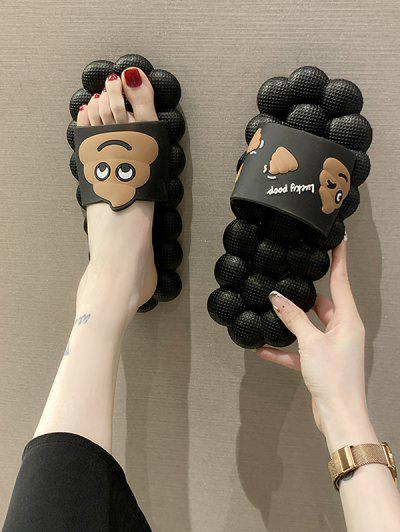 Poop Pattern Indoor Foot Massage Slippers - Black Eu 38