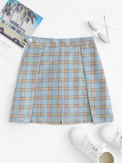Plaid Pleated Mini Skirt With Shorts Underneath - Light Blue M