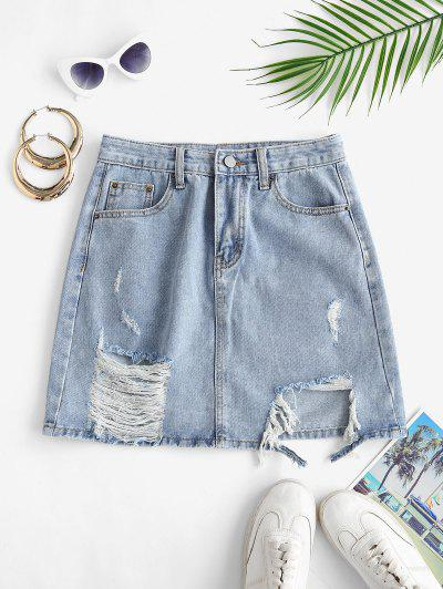 Shredded Distressed Frayed Denim Mini Skirt - Light Blue L