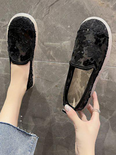 Runde Zehe Pailletten Maschen Atmungsaktive Schlüpfende Schuhe - Schwarz Eu 37