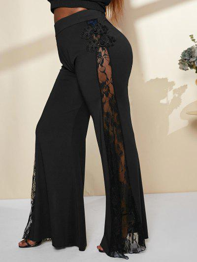 Plus Size Sheer Lace Panel Bell Bottom Pants - Black L