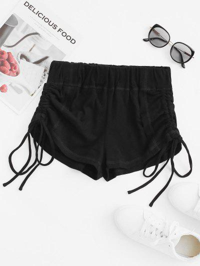 Topstitching Cinched Front Micro Shorts - Black S