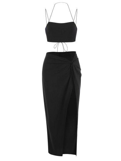 Lace-up Bandeau Top And Twisted High Slit Skirt Set - Black M