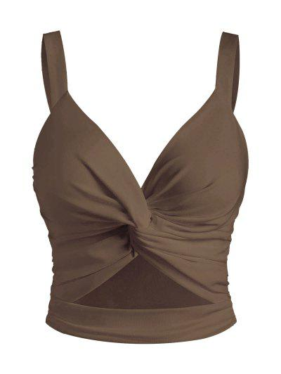 Twist Ruched Cutout Tank Top - Coffee S