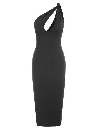 One Shoulder Knotted Cut Out Bodycon Dress - Black M