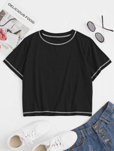 T-shirt Lâche Cousu En Haut - Noir S