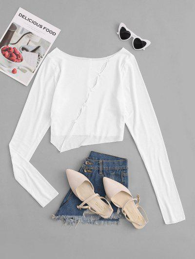 Keyhole Cutout Jersey Crop Pully Top - White L