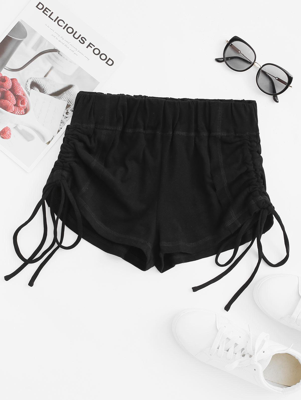 Topstitching Cinched Front Micro Shorts