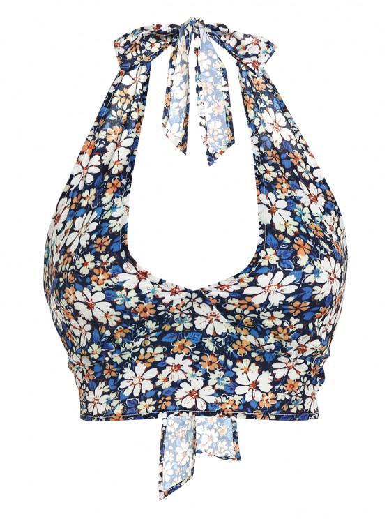 sale ZAFUL Flower Print Halter Bowknot Crop Tank Top - DEEP BLUE M