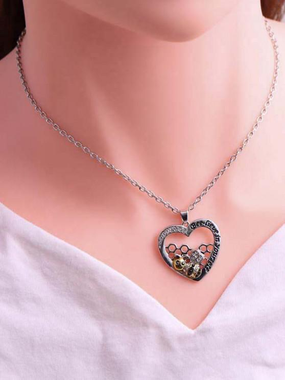 Rhinestone-Embellished Bee And Honeycomb Heart Pendant Necklace - متعددة-A