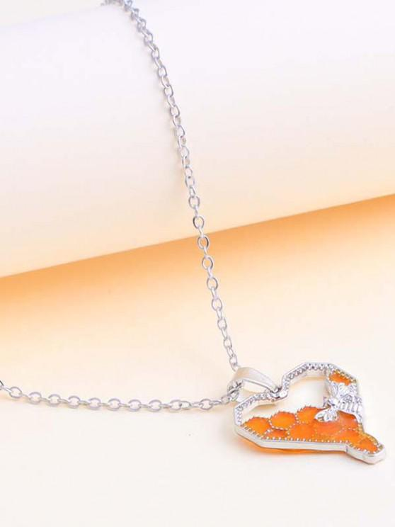 Heart-Shaped Honeycomb And Bee Pendant Necklace - فضة
