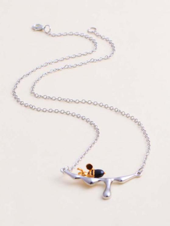 Engraved Dripping Honey Bee Pendant Necklace - فضة