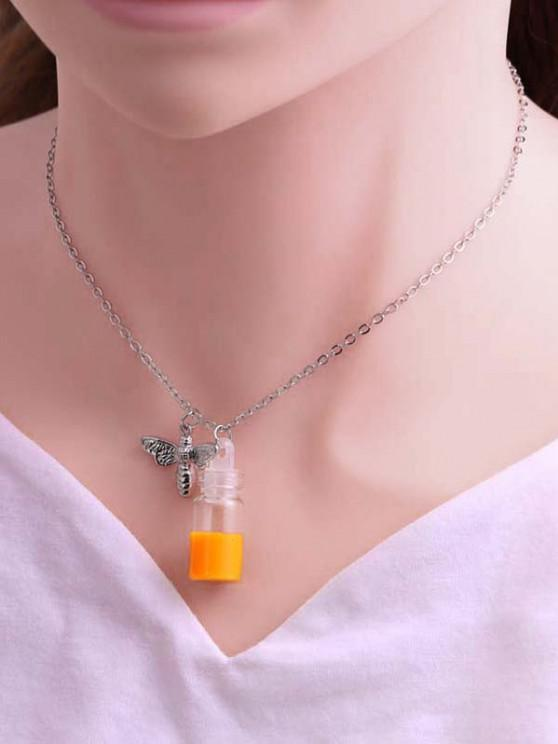 new Engraved Bee And Honey Pot Pendant Necklace - SILVER