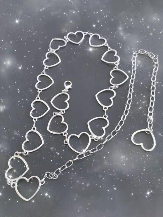 shops Cut-Out Heart Waist Chain Dress Belt - SILVER