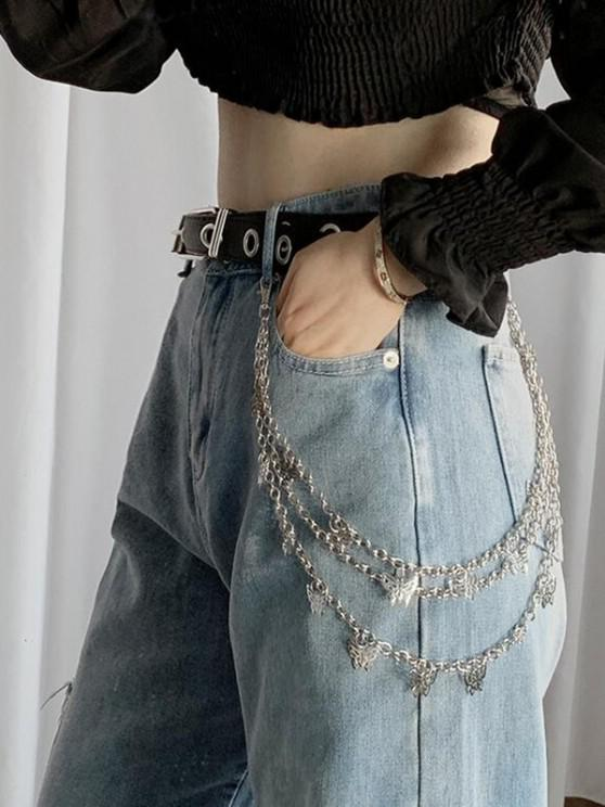 trendy Hollow-Out Butterfly Pendant Triple-Layer Trousers Chain - SILVER