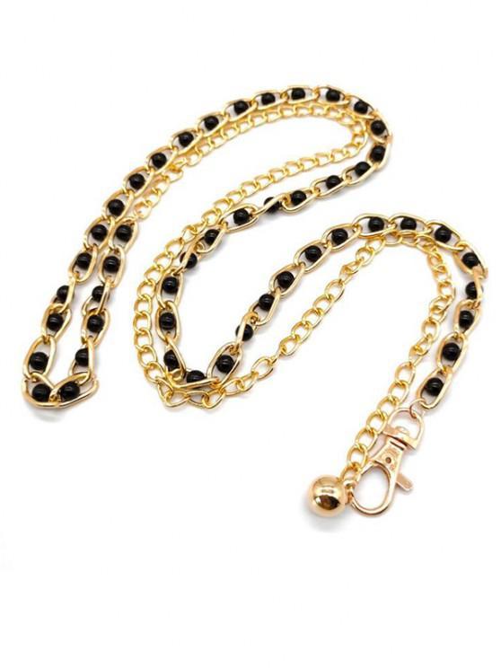 Perle Verzierter Kleid Taille Kette - Schwarz
