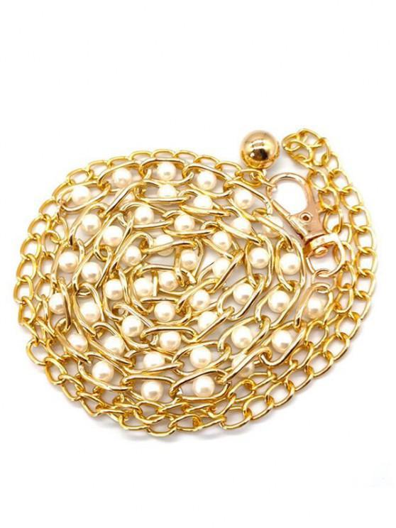 affordable Bead Embellished Dress Waist Chain Belt - WHITE
