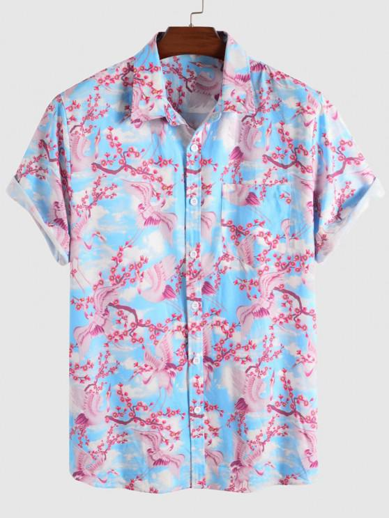 sale Floral Blossom Flying Crane Print Vacation Shirt - LIGHT BLUE L
