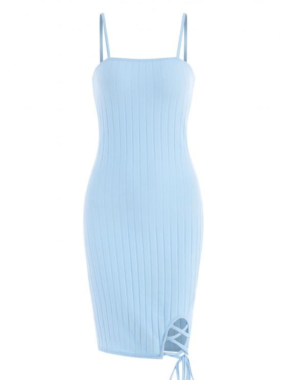affordable ZAFUL Ribbed Lace Up Bodycon Dress - LIGHT BLUE L