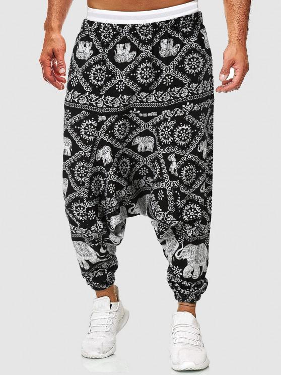 women Flowers Elephants Print Harem Pants - BLACK L