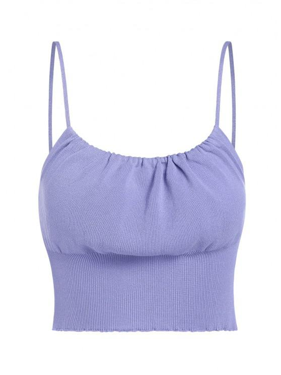 women's ZAFUL Ruched Knitted Crop Cami Sweater - LIGHT PURPLE S