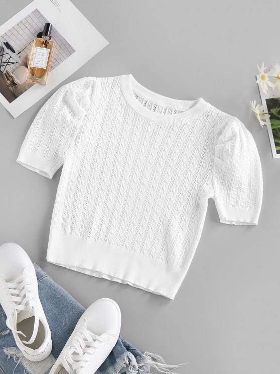 ZAFUL Zopfmuster Puff Ärmel Pullover - Weiß L