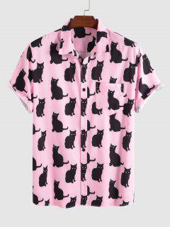 Schwarzes Katzen Muster Kurzarm Hemd - Hell-pink Xl