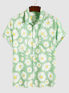 Daisy Pattern Vacation Shirt - Light Green Xxl