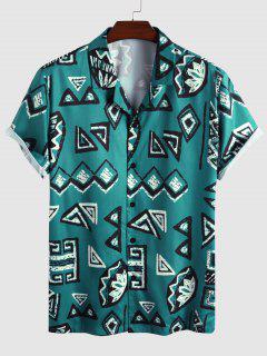 Geometric Pattern Short Sleeve Shirt - Blue M