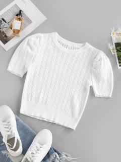 ZAFUL Cable Pointelle Knit Puff Sleeve Sweater - White S