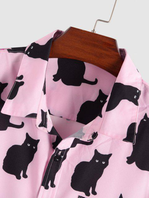 Schwarzes Katzen Muster Kurzarm Hemd - Hell-Pink XXL Mobile