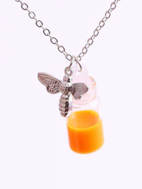 Gravierte Biene und Anhänger Halskette - Silber  Mobile